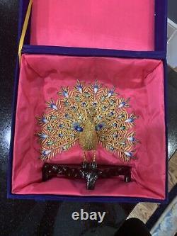 Vintage Chinois Argent Sterling Filigre & Enamel Peacock Figurine En Boîte Gilt