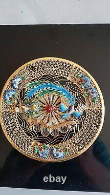 Vintage Chinois Argent-gilt Et Enamel Filagree Plate