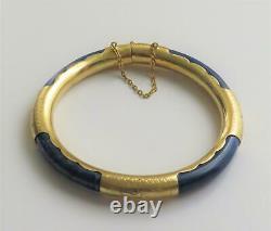 Vintage Chinois Bleu Lapis Lazuli Or Gilt Silver Bracelet Bracelet Bracelet Bracelet Bracelet Bracelet Bracelet Bracelet En Argent