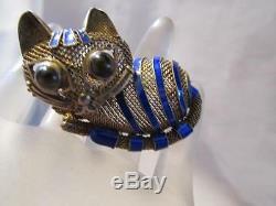 Vintage Chinois Cat Émail Bleu Oeil De Tigre D'or Maille En Argent Sterling Broche / Broche