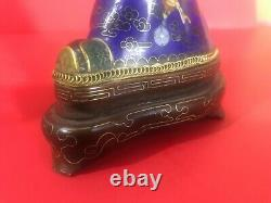 Vintage Chinois Clinoisonne Figure Statue Officielle Or Argent Émail