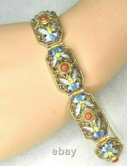 Vintage Chinois Coral Butterfly Enamel Gold Sur Sterling Silver Filigree Bracelet