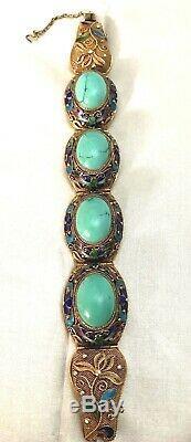 Vintage Chinois D'argent Bracelet En Or Naturel Persian Turquoise Wash & Émail