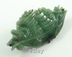 Vintage Chinois D'argent Et Vert Jadite Jade Sculpté Chinois Bateau Broche Ou Pin