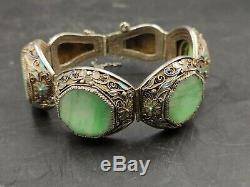 Vintage Chinois D'exportation Cloisonnée Sculpté Jade Jadite Gilt Bracelet En Argent