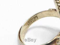 Vintage Chinois D'exportation D'argent Filigrane Or Washed Corail Bague, Bande Réglable
