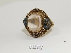 Vintage Chinois D'exportation D'or D'argent Filigrane Wash Moonstone Anneau Ajustable 6.5