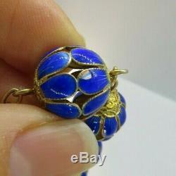 Vintage Chinois D'exportation Gilt Argent Bleu Émail Cloisonné Chaîne Collier De Perles 30