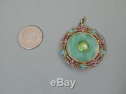 Vintage Chinois D'exportation Gilt D'argent En Émail Jade Jadéite Pendentif Double Face