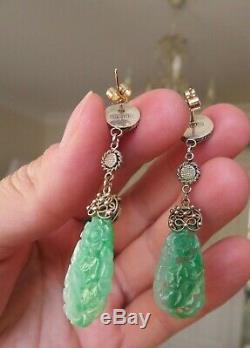 Vintage Chinois D'exportation Naturel Sculpté Jade Silver & Gold Boucles D'oreilles