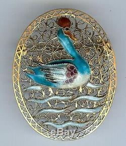 Vintage Chinois D'or De Lavage D'argent Filigrane Émail Des Oiseaux D'eau Canard Broche