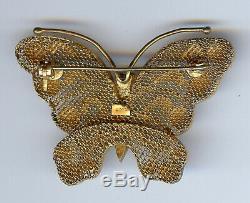 Vintage Chinois D'or De Lavage D'argent Filigrane Émail Papillon Broche