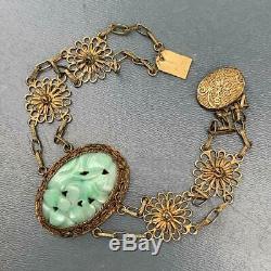 Vintage Chinois D'or En Argent Doré Filigrane Sculpté Bracelet De Jade