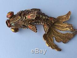Vintage Chinois Émail Argent Articulé Fantail Goldfish Cachette Pendentif