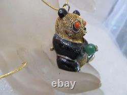 Vintage Chinois En Or 3d Filigrane Jade Et Yeux De Corail Panda Ours Broch / Collier