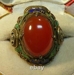 Vintage Chinois Export Gilt Silver Enamel Carnelian Ring Magnifique