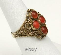 Vintage Chinois Export Silver Gold Wash Filigree & Red Carnelian Ring Réglable