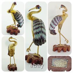 Vintage Chinois Gilded Sterling Argent Émail Heron Crane #479 De 500