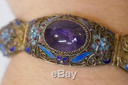 Vintage Chinois Gilt Argent Filigrane & Bracelet Émaillé Avec Améthyste Naturel