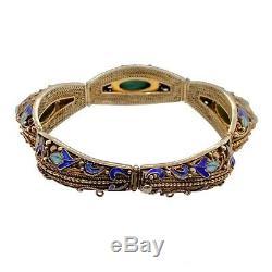 Vintage Chinois Gilt Argent Turquoise Émail Bracelet