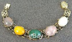 Vintage Chinois Gilt Bracelet En Argent Sterling Jade Rose Quartz Et Ambre Cabochon