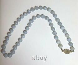 Vintage Chinois Gilt Silver Blue Lace Agate Collier Perlé