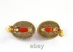 Vintage Chinois Gilt Silver Filigree Émail Endless Knot Carnelian Clip Boucle D'oreille