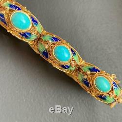 Vintage Chinois Or Argent Doré Filigrane Émail Turquoise Bracelet