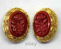 Vintage Chinois Or Gilded Sterling Argent Et Clip Floral Cinnabar Sur Boucles D'oreilles