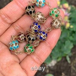 Vintage Chinois Or Gilt Sterling Silver Enamel Ball Bracelet Perlé Bangle