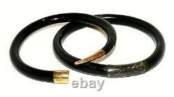 Vintage Chinois Or Jaune Et Argent Serti Bracelets Bracelets Noir De Corail (hal)#1