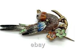 Vintage Chinois Or Wosh Silver Filigree Broche D'oiseau Émail 4,32 G