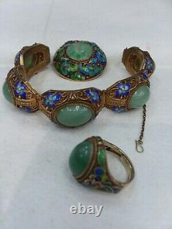 Vintage Chinois Plaqué Or Sur Argent Sterling Et Émail Avec Bracelet Jade