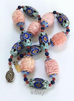 Vintage Chinois Sculpté Rose Corail Collier D'émail Or Rempli Filigree Clasp