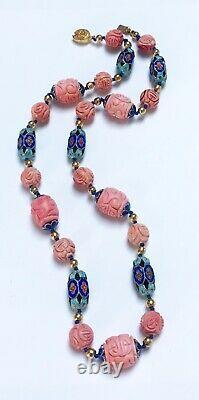 Vintage Chinois Sculpté Rose Corail Collier En Émail Or Rempli Filigree Fermoir
