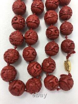 Vintage Chinois Sculpté Rouge Cinnabar Collier De Perles 28 Fermoir D'argent Doré