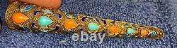 Vintage Chinois Sterling Silver Enamel Turquoise Coral Nail Guard Broche 3.5