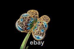 Vintage Chinois Suhai Jade Enamel Gilt Argent Filipree Papillon Signé D86-06