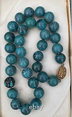 Vintage Chinois Turquoise Perles Collier Collier Or Gilt Boucle D'argent 18 Pouces