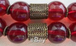 Vintage Collier De 2 Chandeliers En Argent Massif Cerisier Et Cerisier Ambre Doré