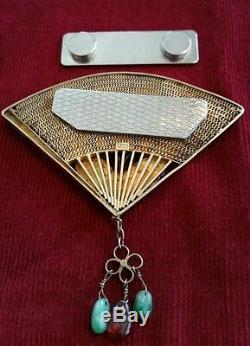 Vintage Émail Chinois En Argent Doré Jante Rose Fan Papillons Quartz Fan - $