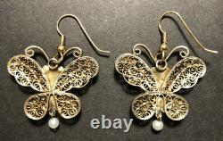 Vintage Gilt Silver Enamel & Jade Filigree Butterfly Chinois E/r
