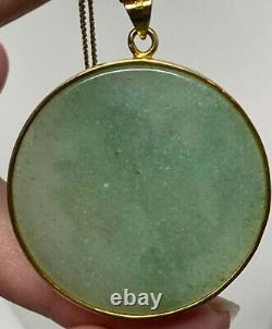 Vintage Gold Over Sterling Silver 925 Gilt Green Jade Chinois Bull Oxen Pendentif