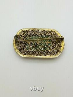 Vintage Gold Sterling Silver Carved Jade Filigree Brooch Importation Chinoise
