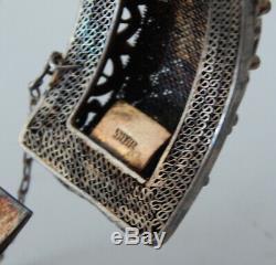 Vintage Grand Vermeil Filigrane Chinois Bracelet Ambre Et Lucky Coins