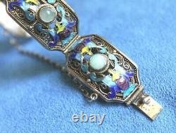 Vintage Hallmarked Chinese Export Gold On Sterling Silver Jade Enamel Bracelet