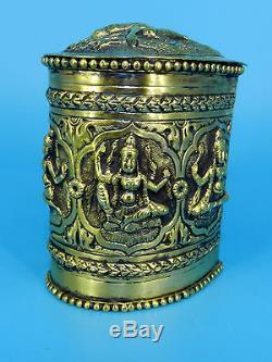 Vintage Lady Bouddha Tibet Argent Sur Gilt Cuivre Cigarette Tabac Jar Box