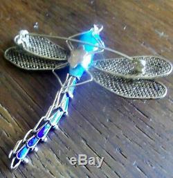 Vintage Libellule Articulée En Argent Sterling Doré Avec Turquoise Et Turquoises
