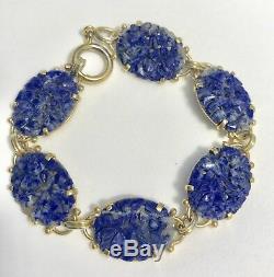 Vintage Or Chinois 1920 Plaqué Argent Avec Lapis Lazuli Bracelet-sculpté À La Main