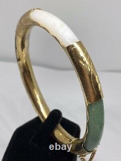 Vintage Or Chinois Sur Silver Multi-hinged Gemme De Jade Jadéite Bracelet